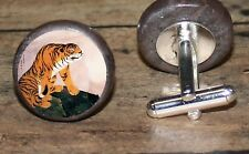 Asian orange TIGER marble art Cuff Link or Tie Tack or Ring or Pendant or Pin