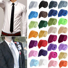 Fashion Mens Skinny Solid Color Plain Shiny Silk Tie Necktie Party Business