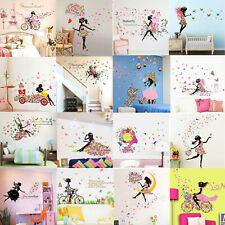 Butterfly Girl Flower Removable Wall Stickers Vinyl Decal Room Home Mural Decor