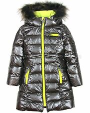 Deux par Deux Girls' Puffer Coat Gray, Sizes 2-12