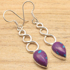 925 Silver Plated Earrings PURPLE COPPER TURQUOISE & OTHER GEMSTONES !