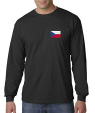 Embroidered Czech Republic Country Pride Prague Europe Long Sleeve T-Shirt S-3XL