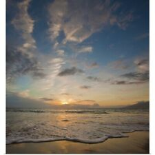 Poster Print Wall Art entitled Sunset over ocean waves at beach
