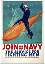 Poster Print Wall Art entitled Join the Navy, the Service for Fighting Men
