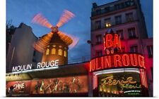 Poster Print Wall Art entitled Moulin Rouge at night in Paris
