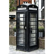 Poster Print Wall Art entitled Old Black Telephone Booth, London