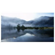 Poster Print Wall Art entitled Morning light  and mist across sound and
