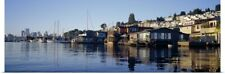 Poster Print Wall Art entitled Houseboats in a lake, Lake Union, Seattle, King