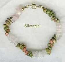 Gemstone Chip Bracelet, Clasp, Stretch, Rose Quartz, Coral, Jade, more