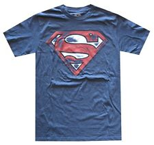 DC Comics Superman Distressed Red Logo Navy Heather Men's T-Shirt New