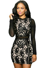 Women sexy long sleeves Lace Mesh patchwork floral Mini clubwear party Dress
