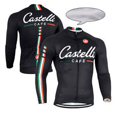 Winter Thermal Fleece Mens Cycling Long Sleeve Jersey Gears Bike Riding Maillot