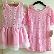 Bonnie Jean Girls PINK DRESS 3T-6 sequin daisy/crochet belle Holidays Party NWT