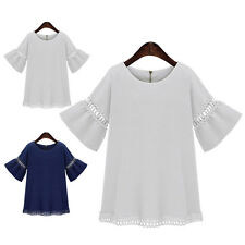 Womens Ladies Flared Sleeve Crochet Casual Tops Tee Shirt Loose Blouse Plus Size