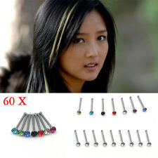 60pcs Surgical Steel Multi Colour Crystal Rhinestone Nose Studs Rings Bar Body