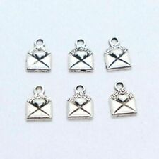120/600pcs Tibetan Silver Envelope Stationery Made with love Charms Pendants