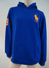 POLO RALPH LAUREN Boys Royal Blue Neon Big Pony Hoodie Sweatshirt Top BNWT