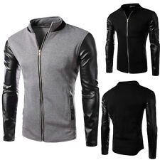 2016 New Men's Stylish Slim Fit PU Leather Jackets Baseball Coat Tops Outwear