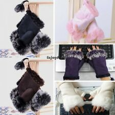 New Women's Rabbit Fur Hand Wrist Fingerless Gloves Warm Winter 3 Colors OO55