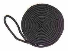 "Four 1/2""x 20 feet Black Double Braid Nylon Rope Dock Lines w/12"" eye splice"