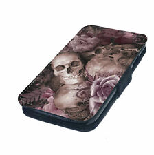 Skulls and Pink Roses   Printed Faux Leather Flip Phone Cover Case   Goth Emo