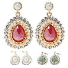 Elegant Women Silver Crystal Rhinestone Pearl Teardrop Dangle Ear Stud Earrings