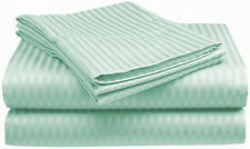 1000TC Egyptian Cotton 1pc  FITTED SHEET Sateen Stripe Mint Green