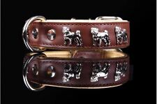 TOP QUALITY HAND-STITCHED LEATHER PUG DOG COLLAR - BLACK & BROWN, MADE IN EUROPE