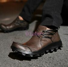 New Vintage Retro Mens British Style Cow Leather Side Lace Up Casual Boots Shoes