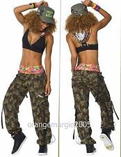 ZUMBA Nation 2 Piece Set! Mashed Up Cargo Capri Pants + Hooded Bra Top Rare! M L