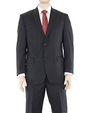 Michael Kors Modern Fit Solid Black Two Button Wool Blend Suit With Peak Lapels