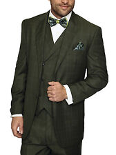 Mens Olive Green Plaid Three Piece Two Button Wool Suit