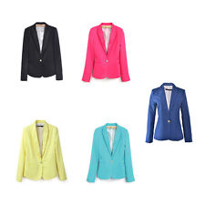 Casual Slim Solid Suit Blazer Jacket Coat Outwear Women Fashion Candy Color SPCA