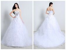 White In Stock Crystals Tulle Bridal A Line Wedding Dress Size 6 8 10 12 14 16