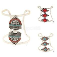 Fashion Bohemian Women Ethnic Turquoise Open Bangle Bracelet Hand Cuff Jewelry