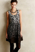 Anthropologie Fading Tracery Dress 8, Black w/Neutral Embroidered Circles, Maeve