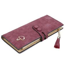Umbrella Tassel Solid Color Letter Dual Snap Fasteners Long Clutch Wallet ICA