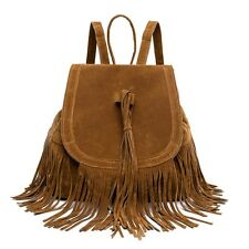 Fashion Tassel Bucket Drawstring Plush Portable Bag Backpack for Women IAU