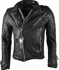 Sixth Label Homme Men's faux leather jacket Biker Jacket Quilted Quilted black