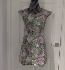 Ex RIVER ISLAND Womens Pink / Yellow Paisley Pattern Sequin Dress Sizes 8-16