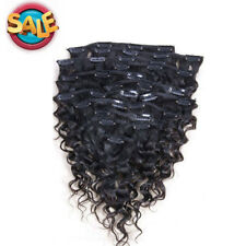 "10pcs 120g Full Head Deep Wave Curly Clip in Human Hair Weft Extensions 12""-28"""
