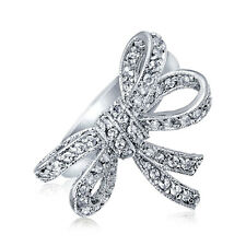 Bling Jewelry Vintage Style Clear CZ Ribbon Bow Ring Rhodium Plated