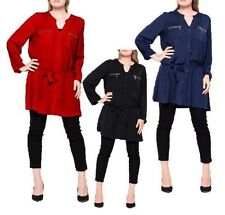 WOMENS LADIES CASUAL LONG SLEEVE V CUT SHIRT DRESS BELTED TUNIC PLUS SIZE 16-26