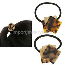 Acrylic Square Leopard Print Elastic Hair Ties Pony Holder Accessories 2 Colors