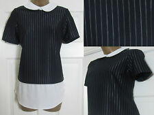 NEW EX Red Herring Top Blouse Shirt Work Office Pin Stripe Peter Pan Collar 8-18