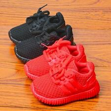 Red Boys Girls Laced Sports Shoes Kids Children Mesh Breathable Casual Sneakers