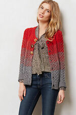 Anthropologie Marled Colorblock Cardigan XS Ombre Red & Gray By Sleeping On Snow