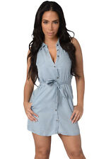 Sexy Womens Light Wash Belted Denim Party Club Mini Shirt Dress Sleeveless
