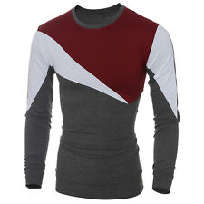 UK Men Casual Long Sleeve T-shirt Slim Fit Crew-Neck Patchwork Tee Tops Shirts