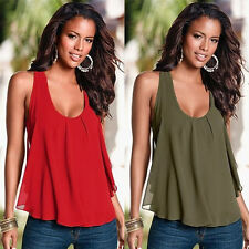 Women's Lady Summer Vest Top Mini Splice Blouse Bandage Casual Tank Tops T-Shirt